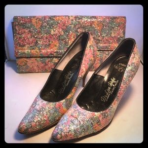 Vintage Floral and Glitter ✨ Heels and Clutch Set
